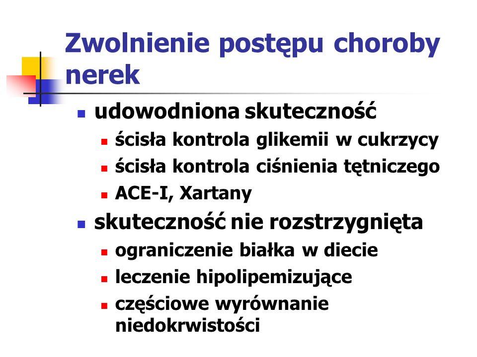 Monitorowanie przebiegu choroby u chorych z PCHN oznaczenia stężenia kreatyniny celem monitorowania GFR należy wykonywać co najmniej raz w roku, a częściej u chorych z GFR < 60 ml/min szybkim zmniejszaniem się GFR >4 ml/min/1.73 m2/rok obciążonych czynnikami ryzyka szybszego postępu choroby zagrożonych ostrym zmniejszeniem GFR otrzymujących leczenie zwalniające przebieg PCHN