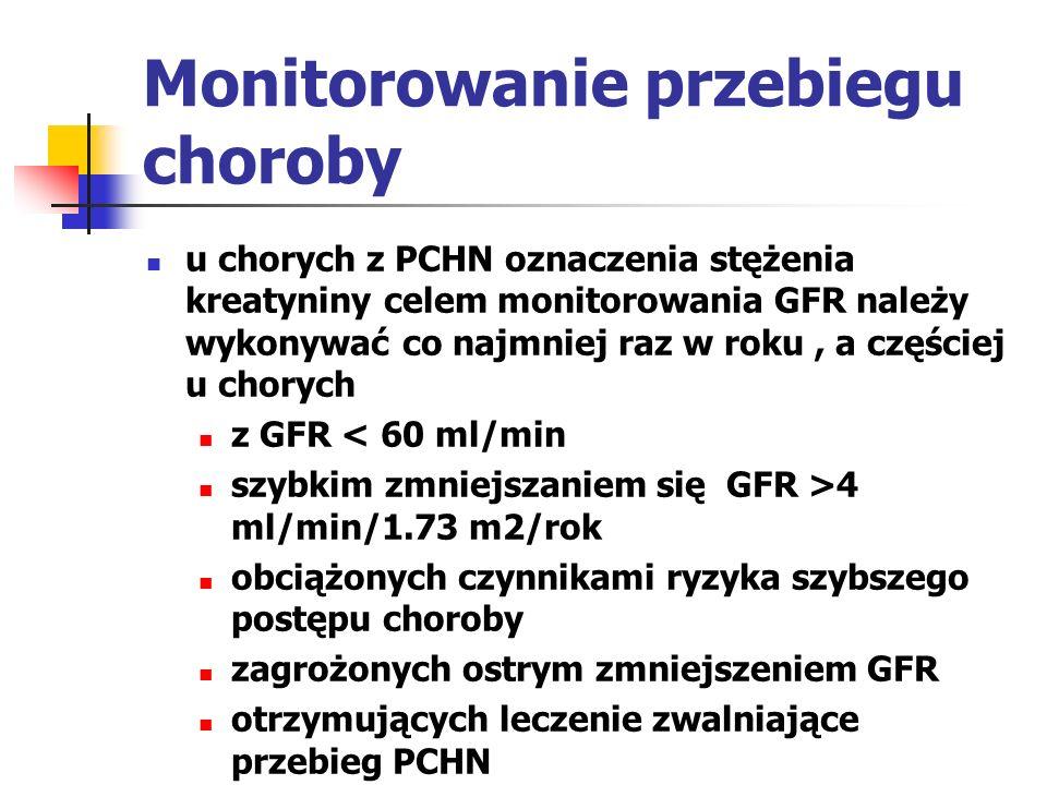 NADCIŚNIENIE TĘTNICZE W PCHN nadciśnienie tętnicze jest zarówno przyczyną jak i powikłaniem PCHN może być wczesnym powikłaniem PCHN niekorzystne następstwa: szybsza utrata czynności nerek i rozwój choroby sercowo-naczyniowej