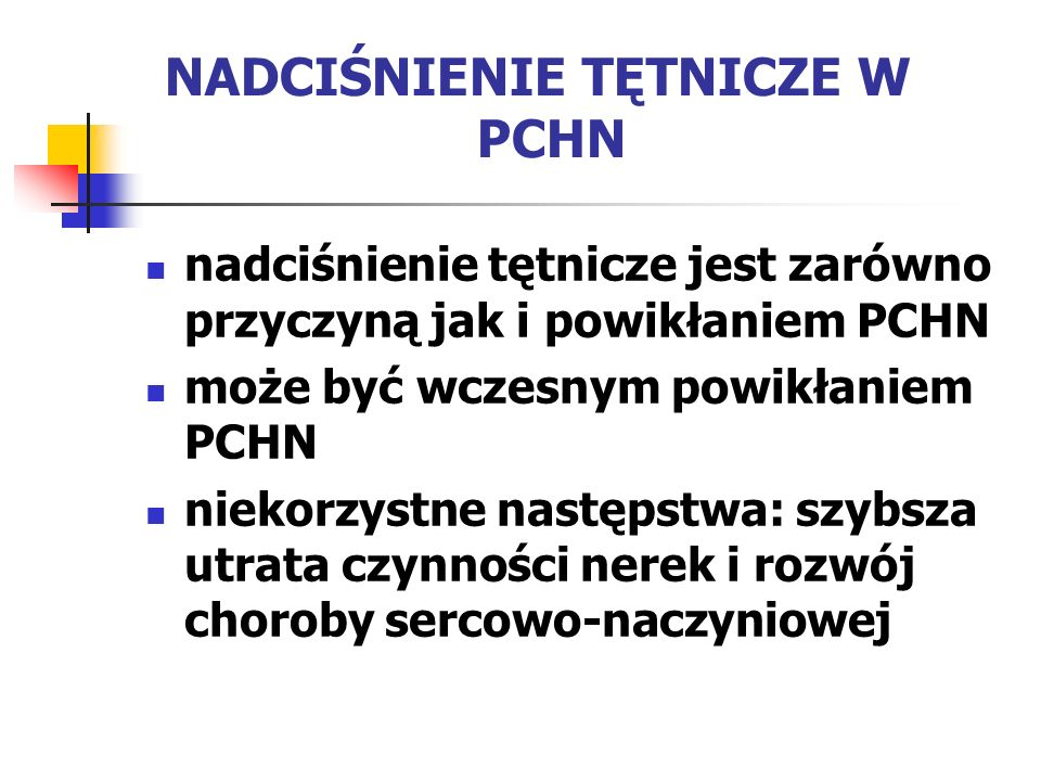 NADCIŚNIENIE TĘTNICZE W PCHN nadciśnienie tętnicze jest zarówno przyczyną jak i powikłaniem PCHN może być wczesnym powikłaniem PCHN niekorzystne nastę