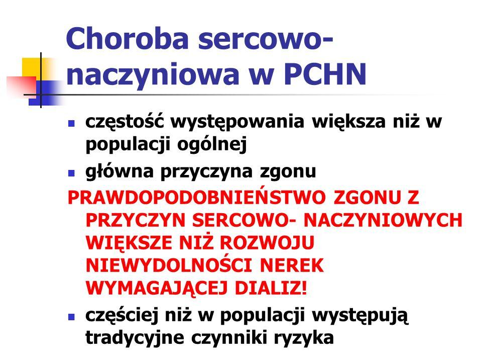 Choroba sercowo- naczyniowa w PCHN Czynniki ryzyka związane z PCHN typ przewlekłej choroby nerek zmniejszone GFR białkomocz zwiększona aktywność układu RAA hiperwolemia- przewodnienie zaburzenia gospodarki wapniowo- fosforanowej dyslipidemia niedokrwistość złe odżywienie stan zapalny, zakażenia czynniki prozakrzepowe stres oksydacyjny hiperhomocysteinemia toksyny mocznicowe