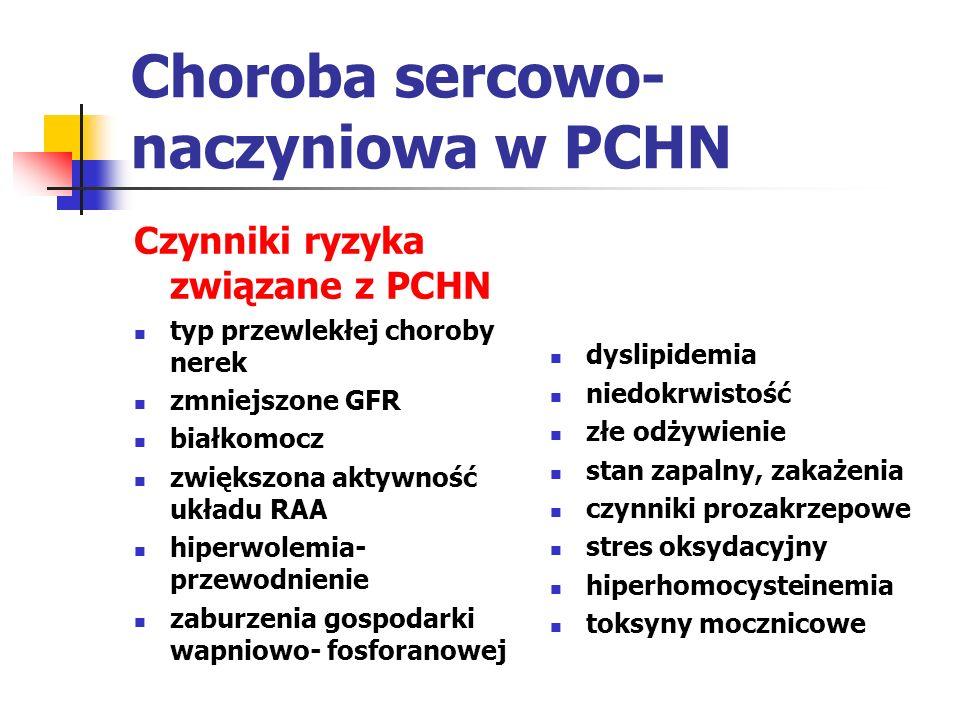 Niedokrwistość w PCHN u chorych z GFR<60ml/min/1.73m2 należy wykonać badania w celu wykrycia niedokrwistości w tym stężenie hemoglobiny niedokrwistość jest związana z gorszym przebiegiem choroby (częstsze przyjęcia do szpitala, występowanie choroby sercowo- naczyniowej, upośledzenie funkcji poznawczych, większa śmiertelność nasilenie niedokrwistości zależy od czasu trwania choroby i stopnia niewydolności nerek