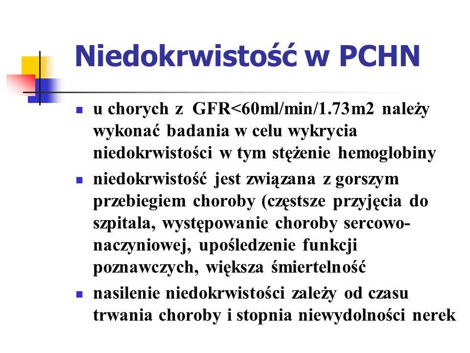Niedokrwistość w PCHN główna przyczyna -niedobór erytropoetyny inne przyczyny ( mogą współistnieć z niedoborem EPO) czynnościowy lub bezwzględny niedobór żelaza utrata krwi jawna lub utajona inhibitory mocznicowe(PTH, spermina) skrócenie okresu półtrwania erytrocytów niedobór kwasu foliowego lub witaminy B12 współistniejące choroby hematologiczne