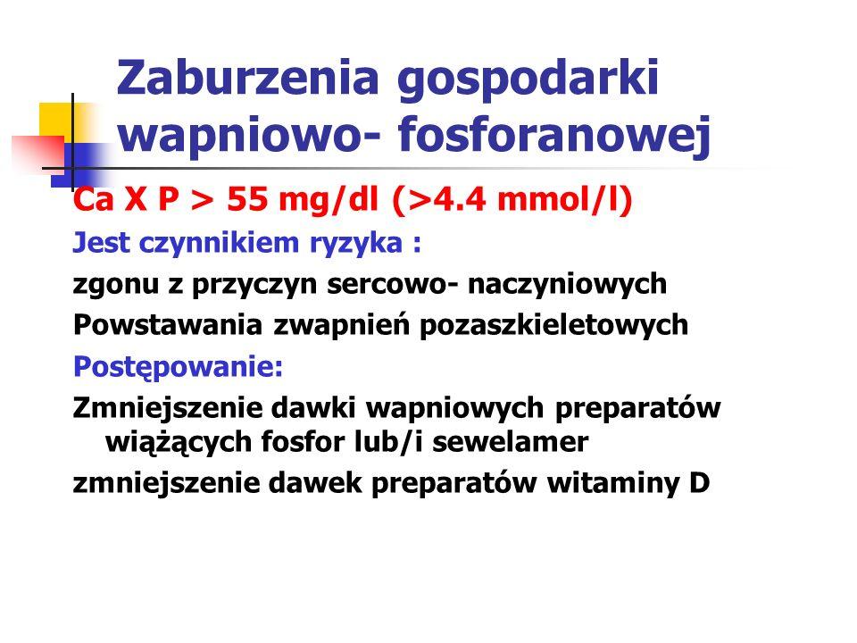 Zaburzenia gospodarki wapniowo- fosforanowej Ca X P > 55 mg/dl (>4.4 mmol/l) Jest czynnikiem ryzyka : zgonu z przyczyn sercowo- naczyniowych Powstawan