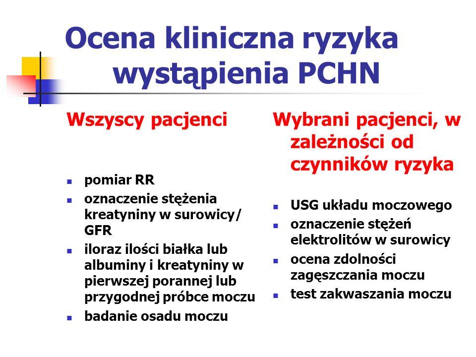 Ocena kliniczna ryzyka wystąpienia PCHN Wszyscy pacjenci pomiar RR oznaczenie stężenia kreatyniny w surowicy/ GFR iloraz ilości białka lub albuminy i