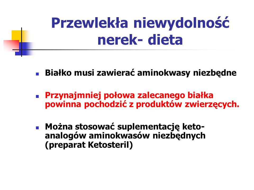 Przewlekła niewydolność nerek- dieta Białko musi zawierać aminokwasy niezbędne Przynajmniej połowa zalecanego białka powinna pochodzić z produktów zwi