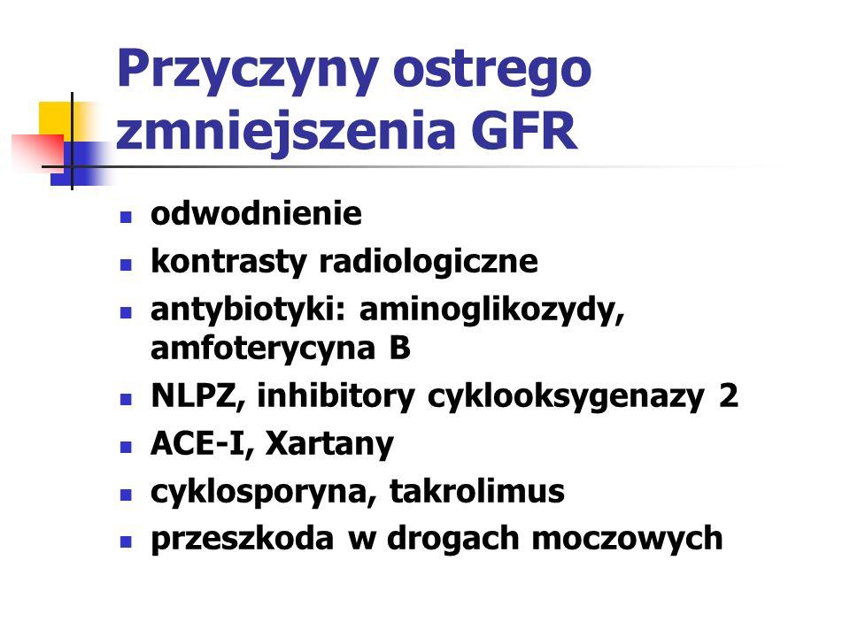 Przyczyny ostrego zmniejszenia GFR odwodnienie kontrasty radiologiczne antybiotyki: aminoglikozydy, amfoterycyna B NLPZ, inhibitory cyklooksygenazy 2