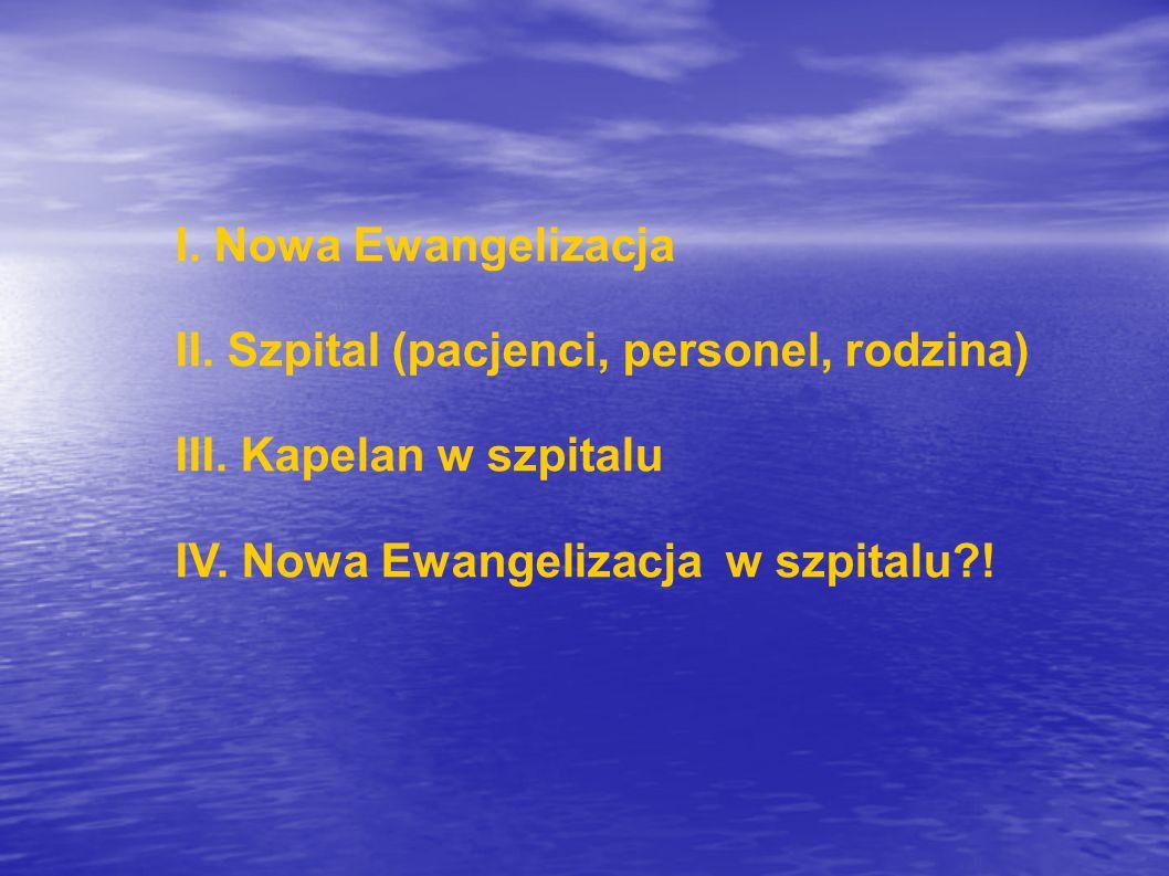 I. Nowa Ewangelizacja II. Szpital (pacjenci, personel, rodzina) III. Kapelan w szpitalu IV. Nowa Ewangelizacja w szpitalu?!