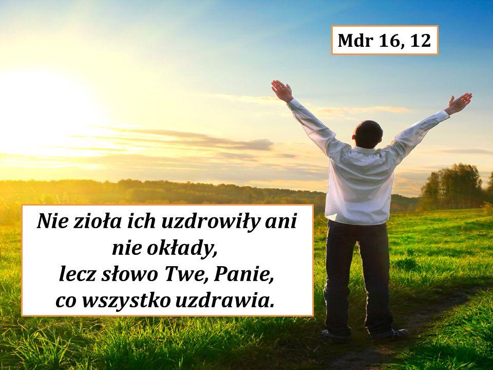 Nie zioła ich uzdrowiły ani nie okłady, lecz słowo Twe, Panie, co wszystko uzdrawia. Mdr 16, 12