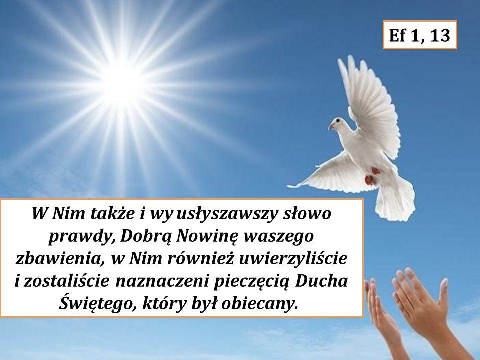 W Nim także i wy usłyszawszy słowo prawdy, Dobrą Nowinę waszego zbawienia, w Nim również uwierzyliście i zostaliście naznaczeni pieczęcią Ducha Świętego, który był obiecany.