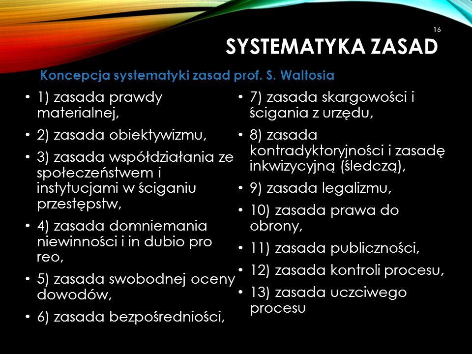 1) zasada prawdy materialnej, 2) zasada obiektywizmu, 3) zasada współdziałania ze społeczeństwem i instytucjami w ściganiu przestępstw, 4) zasada domn