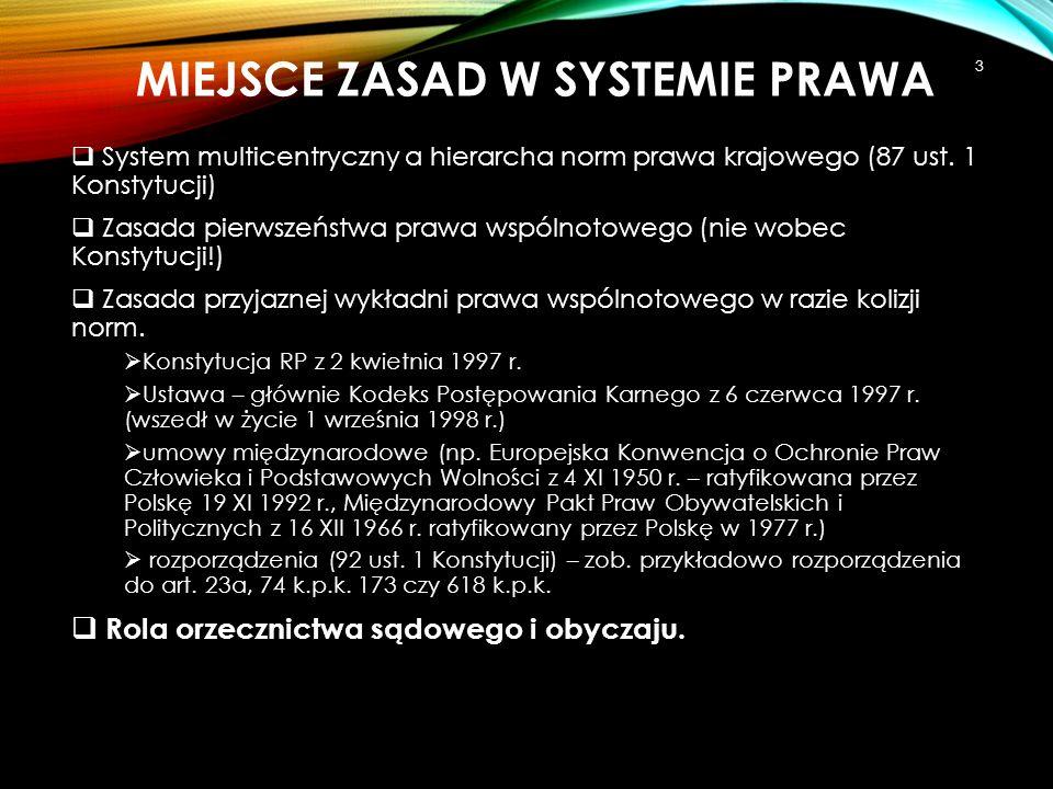 MIEJSCE ZASAD W SYSTEMIE PRAWA  System multicentryczny a hierarcha norm prawa krajowego (87 ust. 1 Konstytucji)  Zasada pierwszeństwa prawa wspólnot
