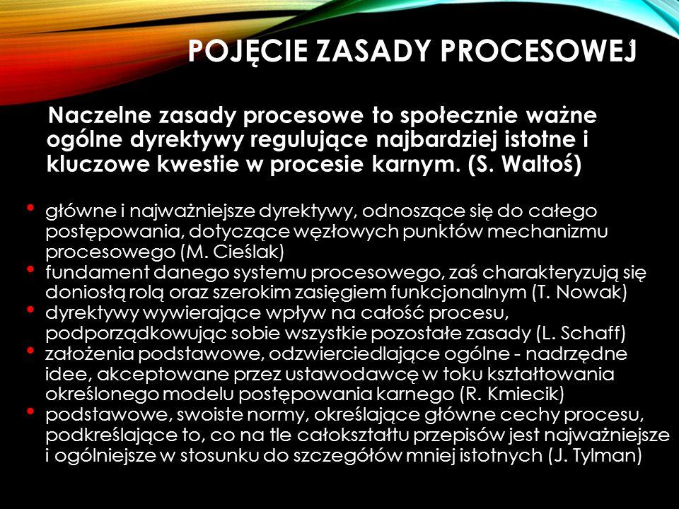 POJĘCIE ZASADY PROCESOWEJ Naczelne zasady procesowe to społecznie ważne ogólne dyrektywy regulujące najbardziej istotne i kluczowe kwestie w procesie