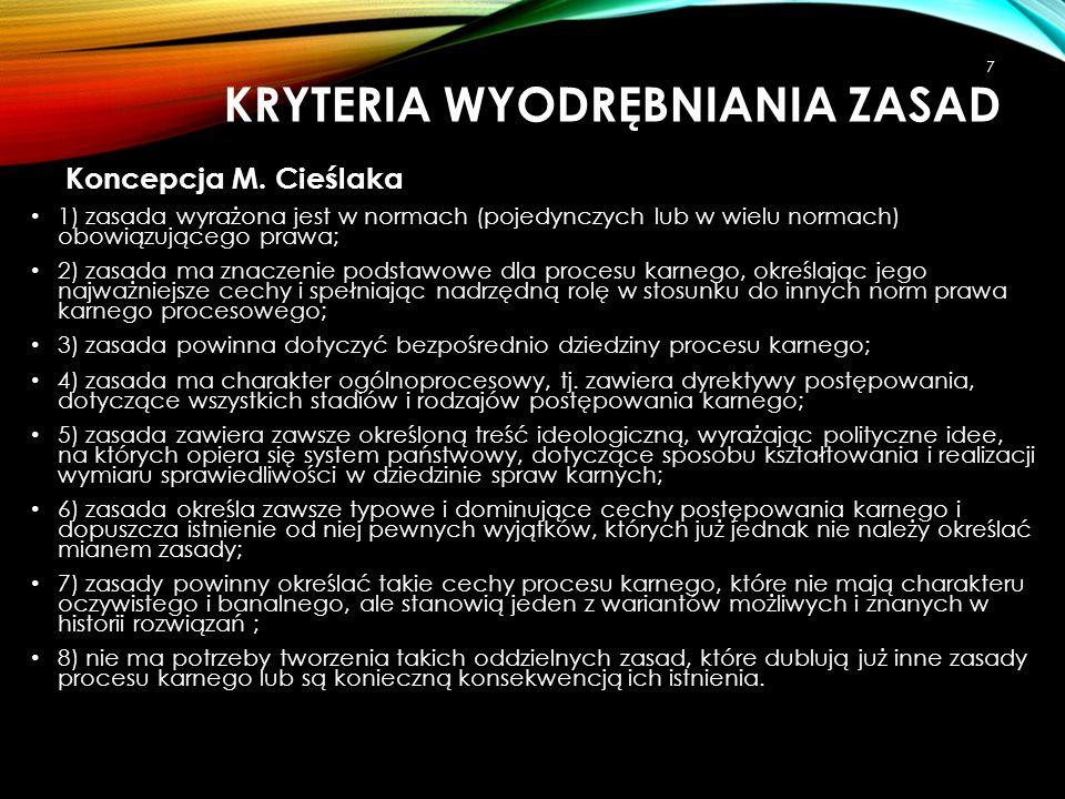 KRYTERIA WYODRĘBNIANIA ZASAD Koncepcja S.