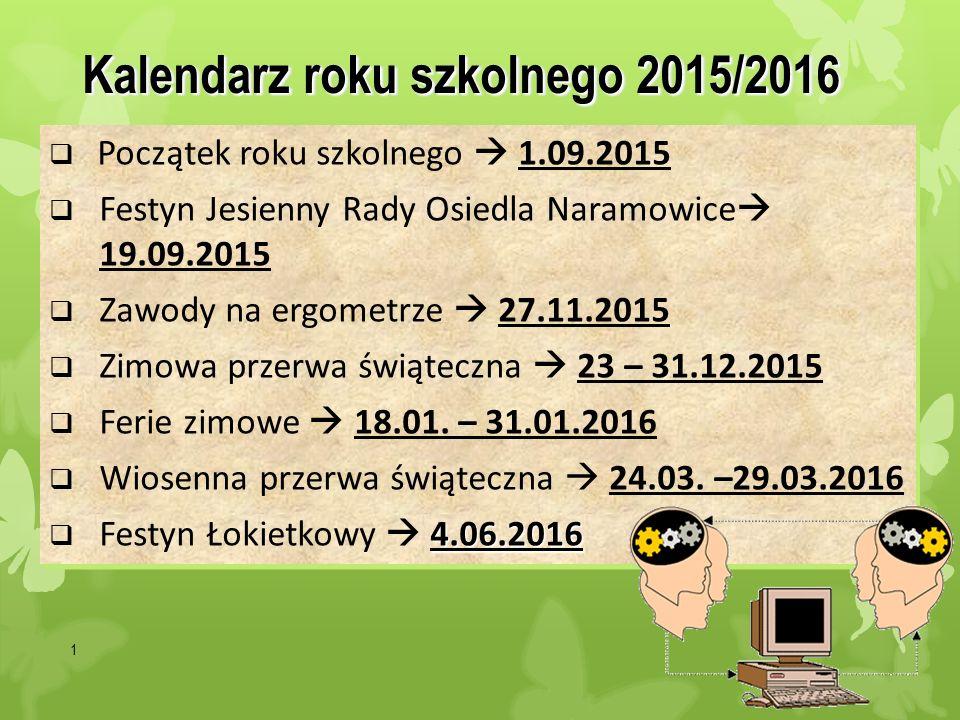 1 Kalendarz roku szkolnego 2015/2016  Początek roku szkolnego  1.09.2015  Festyn Jesienny Rady Osiedla Naramowice  19.09.2015  Zawody na ergometr