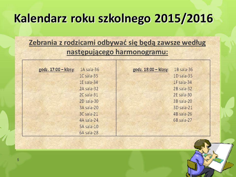 5 Kalendarz roku szkolnego 2015/2016 Zebrania z rodzicami odbywać się będą zawsze według następującego harmonogramu: