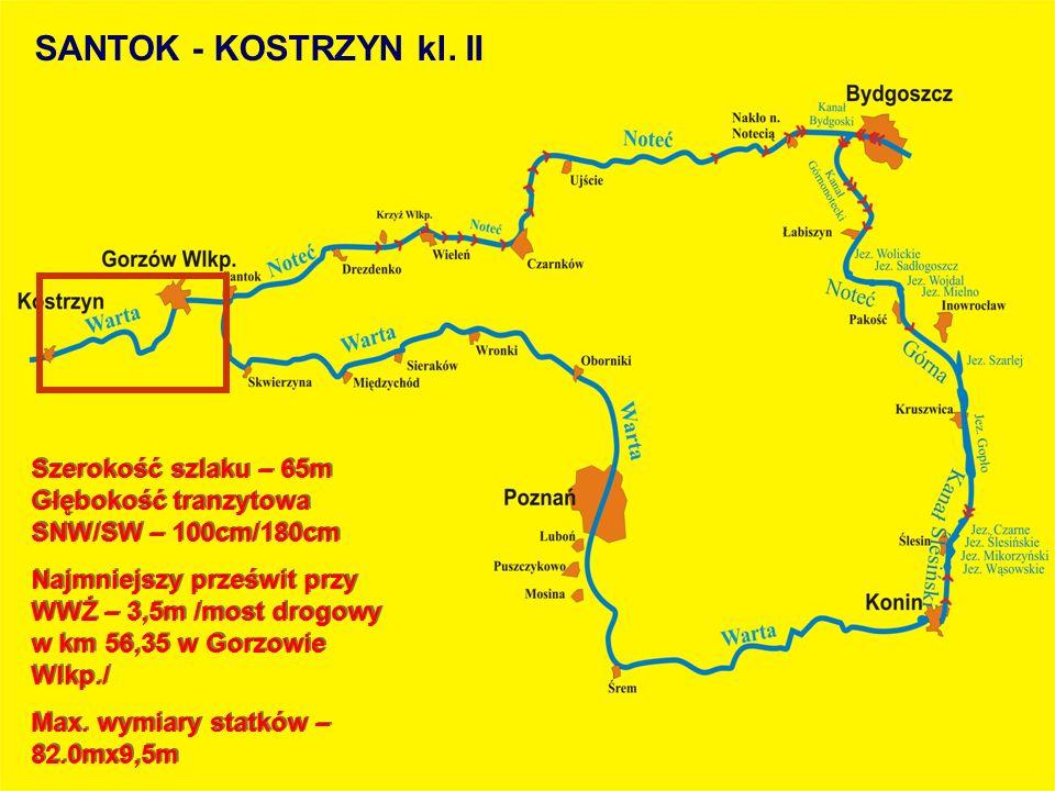 Szerokość szlaku – 65m Głębokość tranzytowa SNW/SW – 100cm/180cm Najmniejszy prześwit przy WWŻ – 3,5m /most drogowy w km 56,35 w Gorzowie Wlkp./ Max.
