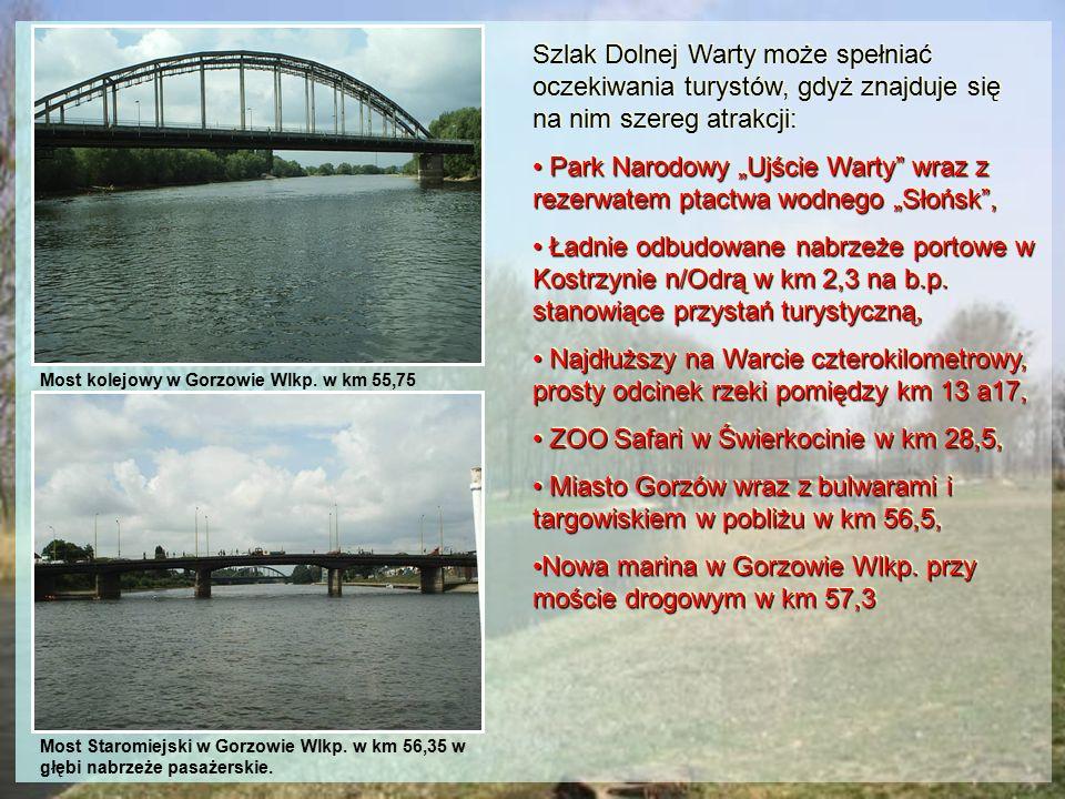 Most kolejowy w Gorzowie Wlkp. w km 55,75 Szlak Dolnej Warty może spełniać oczekiwania turystów, gdyż znajduje się na nim szereg atrakcji: Park Narodo