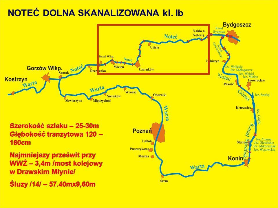 Szerokość szlaku – 25-30m Głębokość tranzytowa 120 – 160cm Najmniejszy prześwit przy WWŻ – 3,4m /most kolejowy w Drawskim Młynie/ Śluzy /14/ – 57.40mx