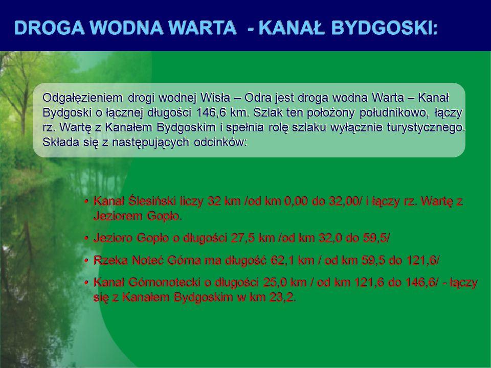 DROGA WODNA WARTA - KANAŁ BYDGOSKI: Odgałęzieniem drogi wodnej Wisła – Odra jest droga wodna Warta – Kanał Bydgoski o łącznej długości 146,6 km. Szlak