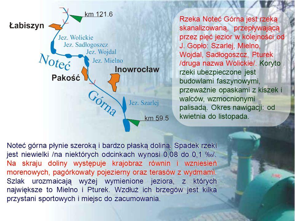 Noteć górna płynie szeroką i bardzo płaską doliną. Spadek rzeki jest niewielki /na niektórych odcinkach wynosi 0,08 do 0,1 ‰/. Na skraju doliny występ