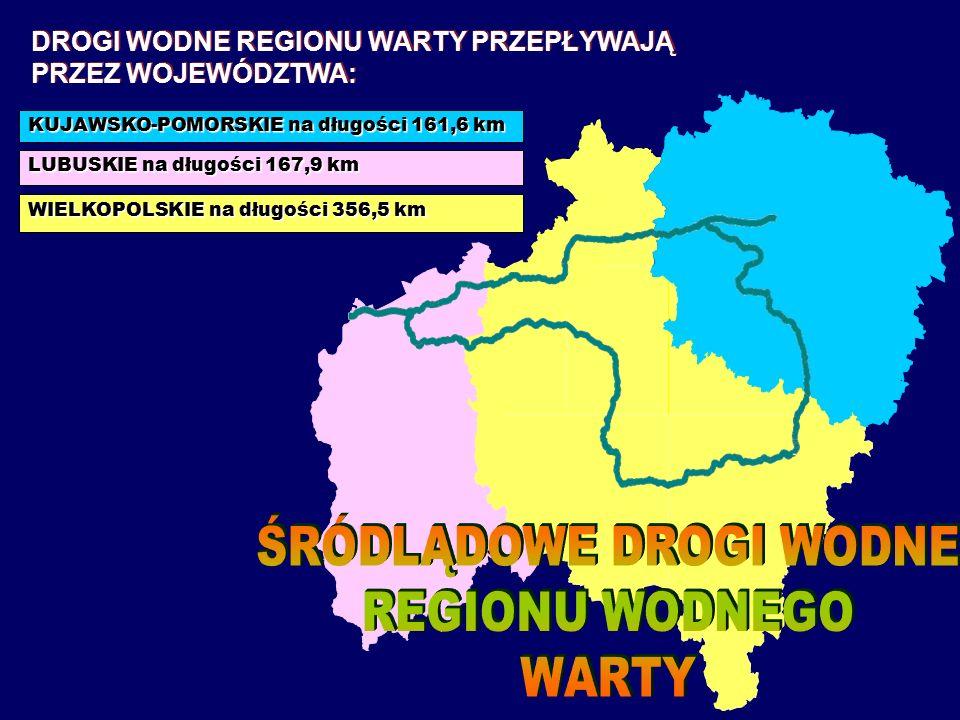 KUJAWSKO-POMORSKIE na długości 161,6 km LUBUSKIE na długości 167,9 km WIELKOPOLSKIE na długości 356,5 km DROGI WODNE REGIONU WARTY PRZEPŁYWAJĄ PRZEZ WOJEWÓDZTWA: