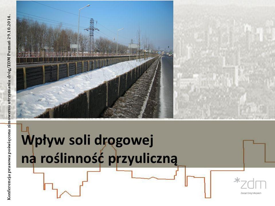 Wpływ soli drogowej na roślinność przyuliczną Konferencja prasowa poświęcona zimowemu utrzymaniu dróg/ZDM Poznań 29.10.2014.