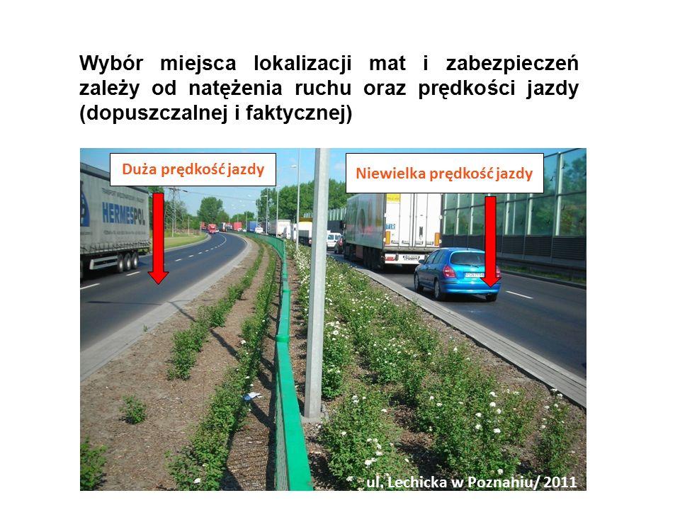 Wybór miejsca lokalizacji mat i zabezpieczeń zależy od natężenia ruchu oraz prędkości jazdy (dopuszczalnej i faktycznej) Niewielka prędkość jazdy Duża