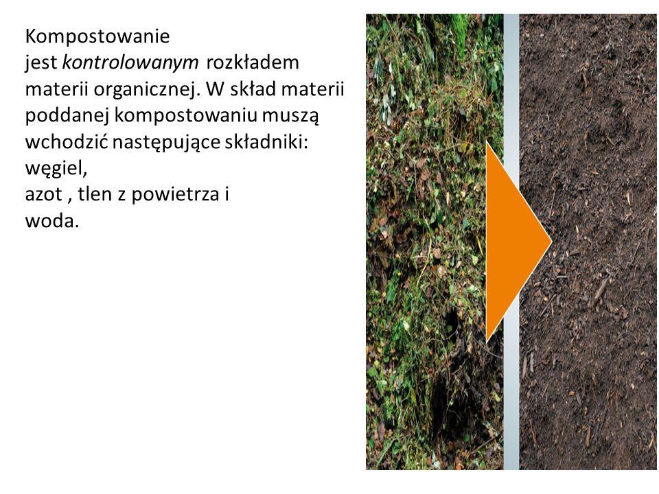 Kompostowanie jest kontrolowanym rozkładem materii organicznej. W skład materii poddanej kompostowaniu muszą wchodzić następujące składniki: węgiel, a