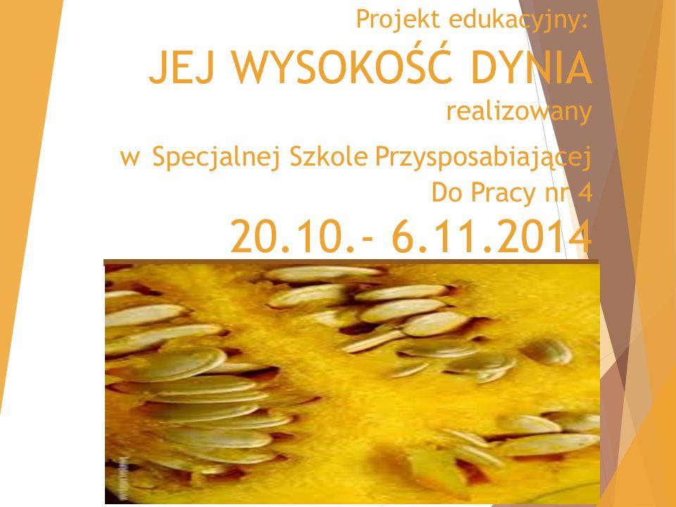 Projekt edukacyjny: JEJ WYSOKOŚĆ DYNIA realizowany w Specjalnej Szkole Przysposabiającej Do Pracy nr 4 20.10.- 6.11.2014