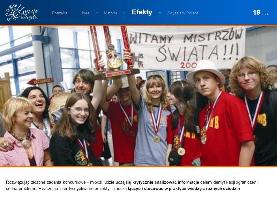Rozwiązując złożone zadania konkursowe – młodzi ludzie uczą się krytycznie analizować informacje celem identyfikacji ograniczeń i sedna problemu.