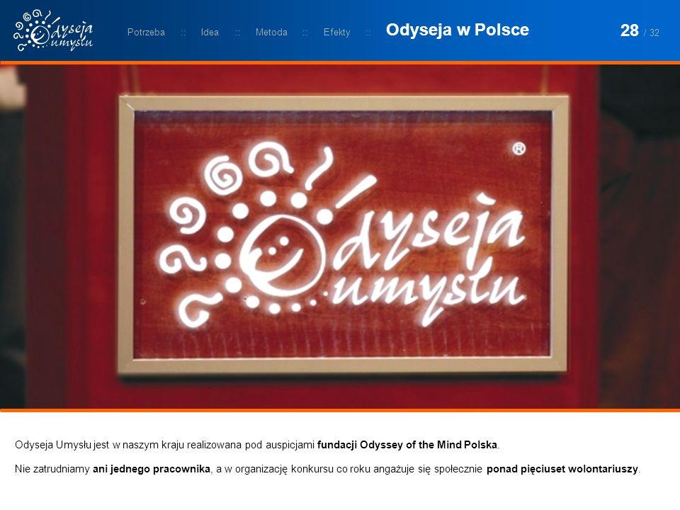 Odyseja Umysłu jest w naszym kraju realizowana pod auspicjami fundacji Odyssey of the Mind Polska. Nie zatrudniamy ani jednego pracownika, a w organiz
