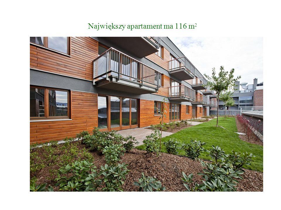Największy apartament ma 116 m 2