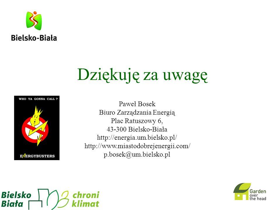 Dziękuję za uwagę Paweł Bosek Biuro Zarządzania Energią Plac Ratuszowy 6, 43-300 Bielsko-Biała http://energia.um.bielsko.pl/ http://www.miastodobrejen