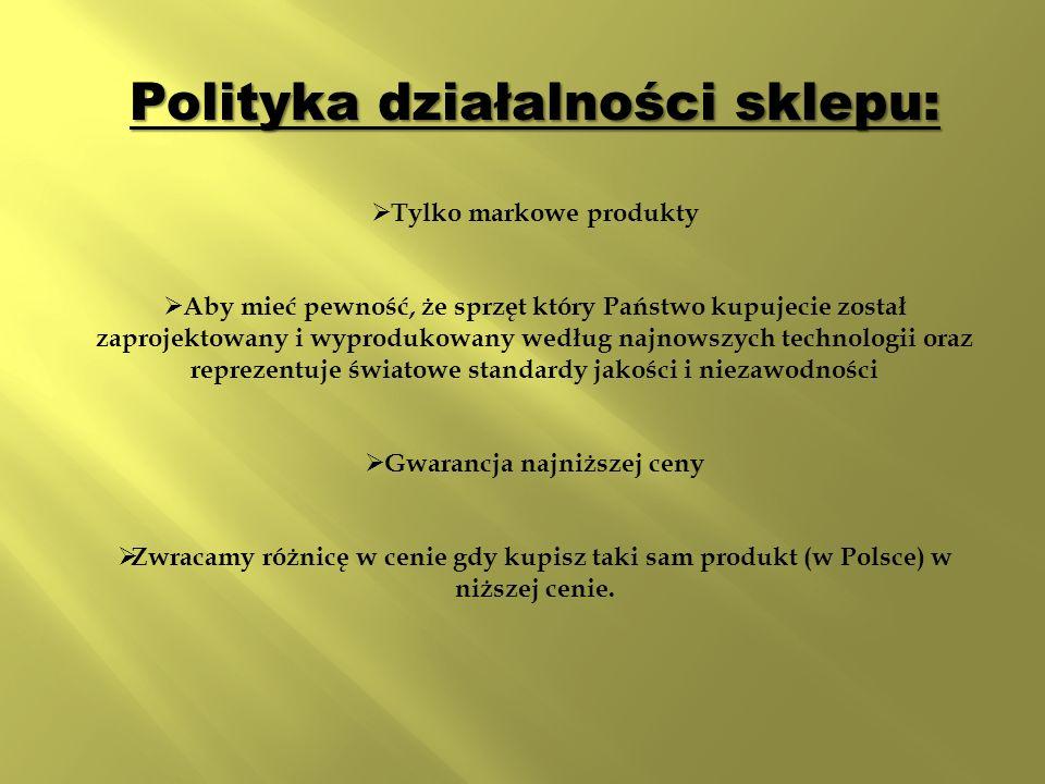 Polityka działalności sklepu:  Tylko markowe produkty  Aby mieć pewność, że sprzęt który Państwo kupujecie został zaprojektowany i wyprodukowany według najnowszych technologii oraz reprezentuje światowe standardy jakości i niezawodności  Gwarancja najniższej ceny  Zwracamy różnicę w cenie gdy kupisz taki sam produkt (w Polsce) w niższej cenie.