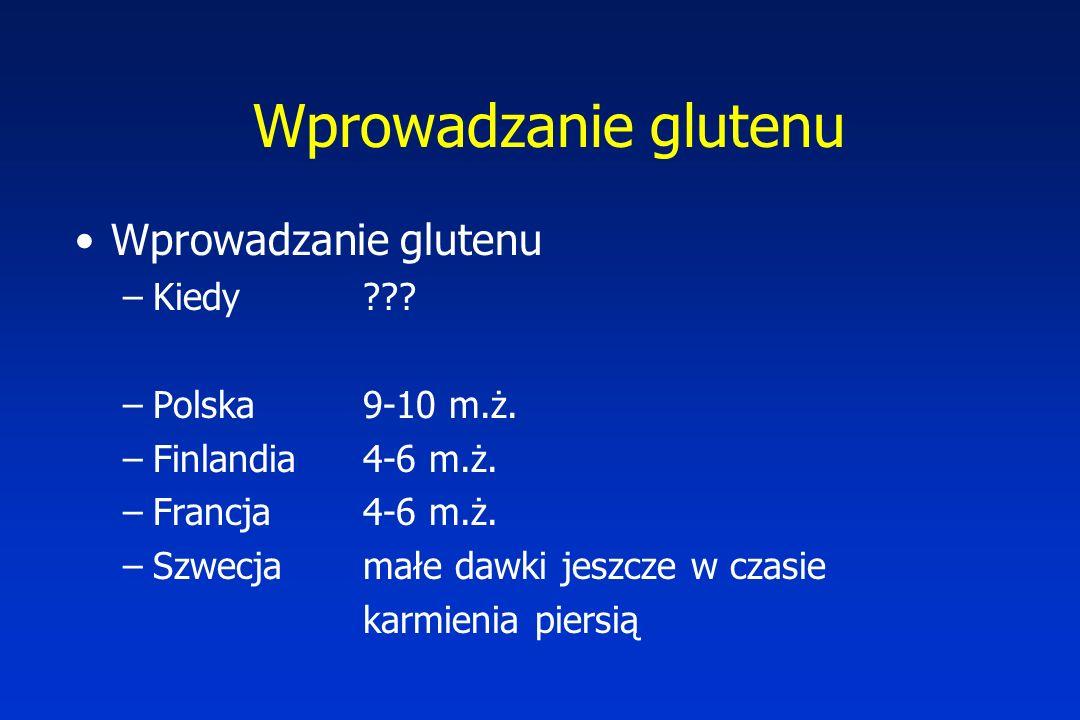 Wprowadzanie glutenu –Kiedy ??.–Polska9-10 m.ż. –Finlandia 4-6 m.ż.