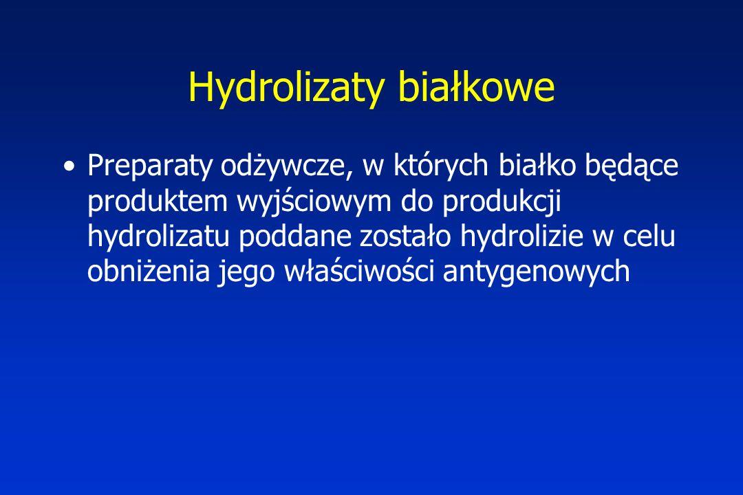 Hydrolizaty białkowe Preparaty odżywcze, w których białko będące produktem wyjściowym do produkcji hydrolizatu poddane zostało hydrolizie w celu obniżenia jego właściwości antygenowych