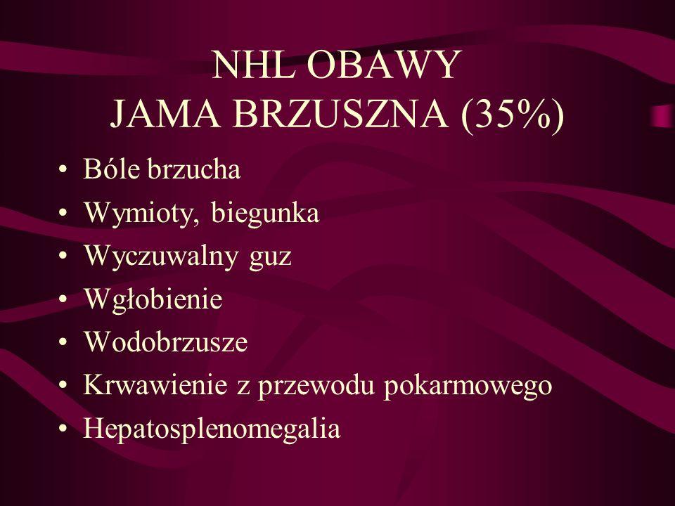 NHL OBAWY JAMA BRZUSZNA (35%) Bóle brzucha Wymioty, biegunka Wyczuwalny guz Wgłobienie Wodobrzusze Krwawienie z przewodu pokarmowego Hepatosplenomegal