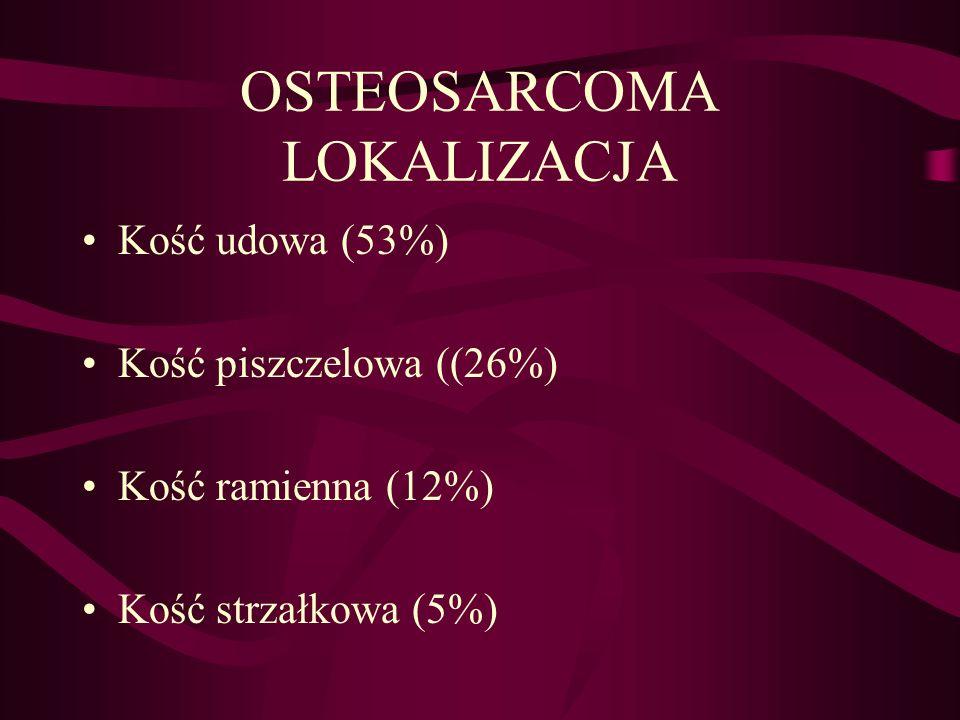 OSTEOSARCOMA LOKALIZACJA Kość udowa (53%) Kość piszczelowa ((26%) Kość ramienna (12%) Kość strzałkowa (5%)