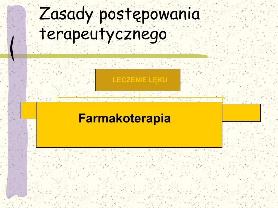 Zasady postępowania terapeutycznego Psychoterapia Farmakoterapia LECZENIE LĘKU