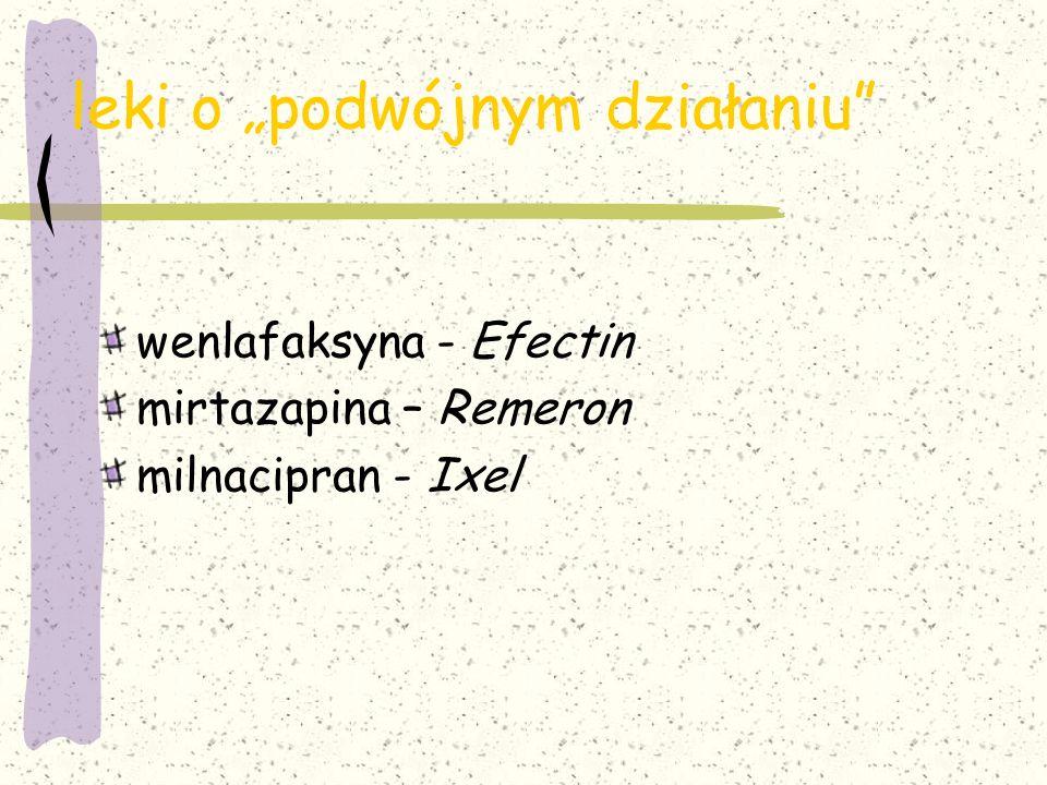 """leki o """"podwójnym działaniu"""" wenlafaksyna - Efectin mirtazapina – Remeron milnacipran - Ixel"""