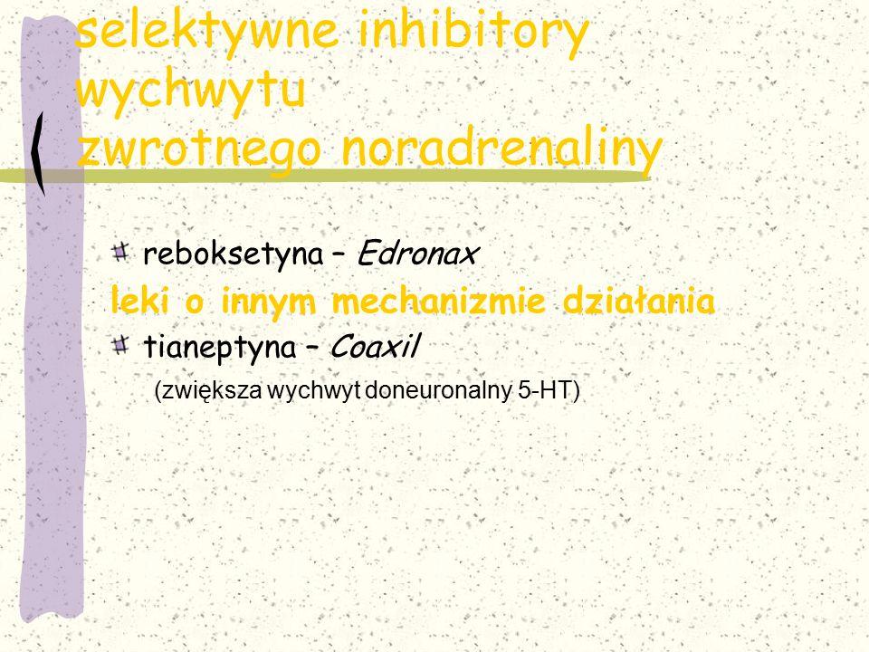 selektywne inhibitory wychwytu zwrotnego noradrenaliny reboksetyna – Edronax leki o innym mechanizmie działania tianeptyna – Coaxil (zwiększa wychwyt