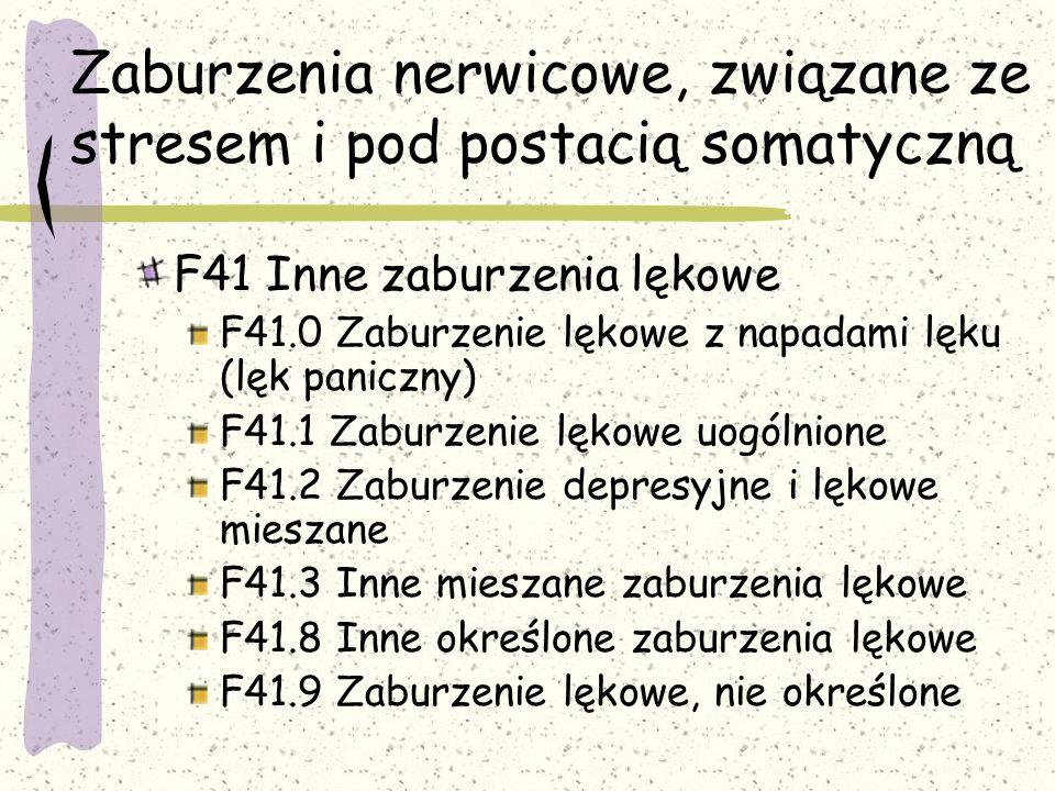 Zaburzenia nerwicowe, związane ze stresem i pod postacią somatyczną F42 Zaburzenie obsesyjno-kompulsyjne (nerwica natręctw) F42.0 Zaburzenie z przewagą myśli lub ruminacji natrętnych F42.1 Zaburzenie z przewagą czynności natrętnych (rytuały) F42.2 Myśli i czynności natrętne, mieszane F42.8 Inne zaburzenia obsesyjno-kompulsyjne F42.9 Zaburzenia obsesyjno-kompulsyjne, nie określone