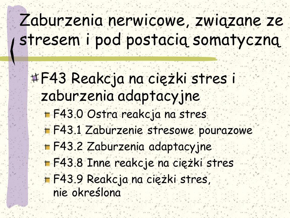 Zaburzenia nerwicowe, związane ze stresem i pod postacią somatyczną F43 Reakcja na ciężki stres i zaburzenia adaptacyjne F43.0 Ostra reakcja na stres