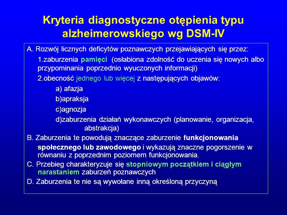 Kryteria diagnostyczne otępienia typu alzheimerowskiego wg DSM-IV A. Rozwój licznych deficytów poznawczych przejawiających się przez: 1.zaburzenia pam