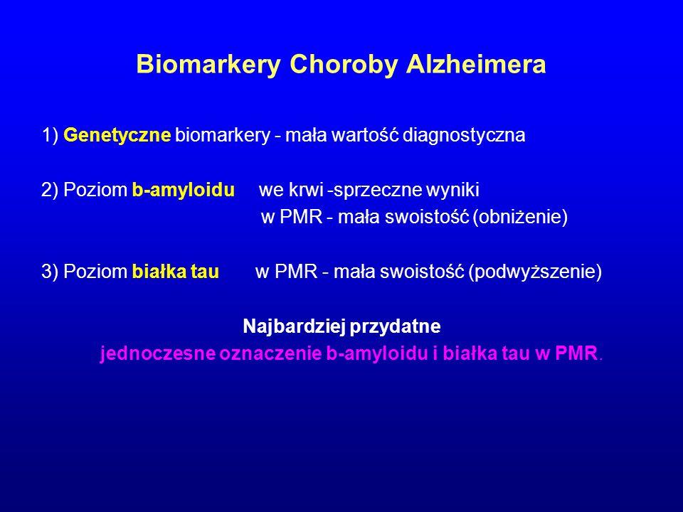Biomarkery Choroby Alzheimera 1) Genetyczne biomarkery - mała wartość diagnostyczna 2) Poziom b-amyloidu we krwi -sprzeczne wyniki w PMR - mała swoist