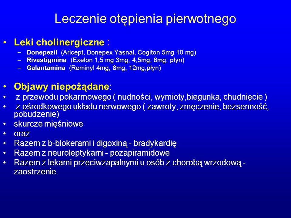 Leczenie otępienia pierwotnego Leki cholinergiczne : –Donepezil (Aricept, Donepex Yasnal, Cogiton 5mg 10 mg) –Rivastigmina (Exelon 1,5 mg 3mg; 4,5mg;