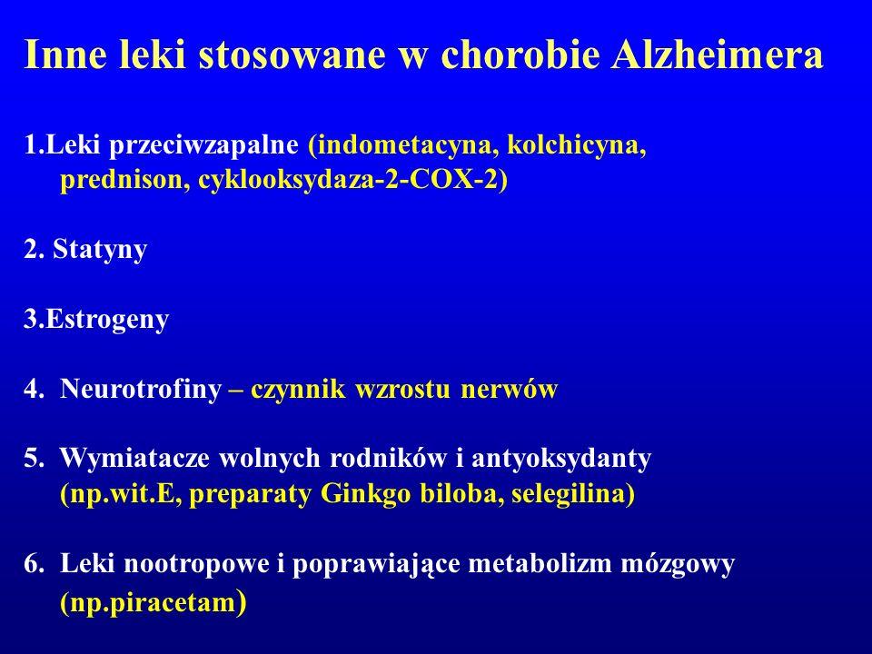Inne leki stosowane w chorobie Alzheimera 1.Leki przeciwzapalne (indometacyna, kolchicyna, prednison, cyklooksydaza-2-COX-2) 2. Statyny 3.Estrogeny 4.