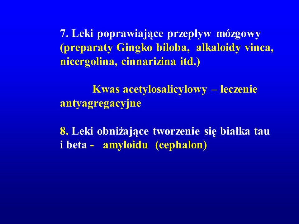 7. Leki poprawiające przepływ mózgowy (preparaty Gingko biloba, alkaloidy vinca, nicergolina, cinnarizina itd.) Kwas acetylosalicylowy – leczenie anty