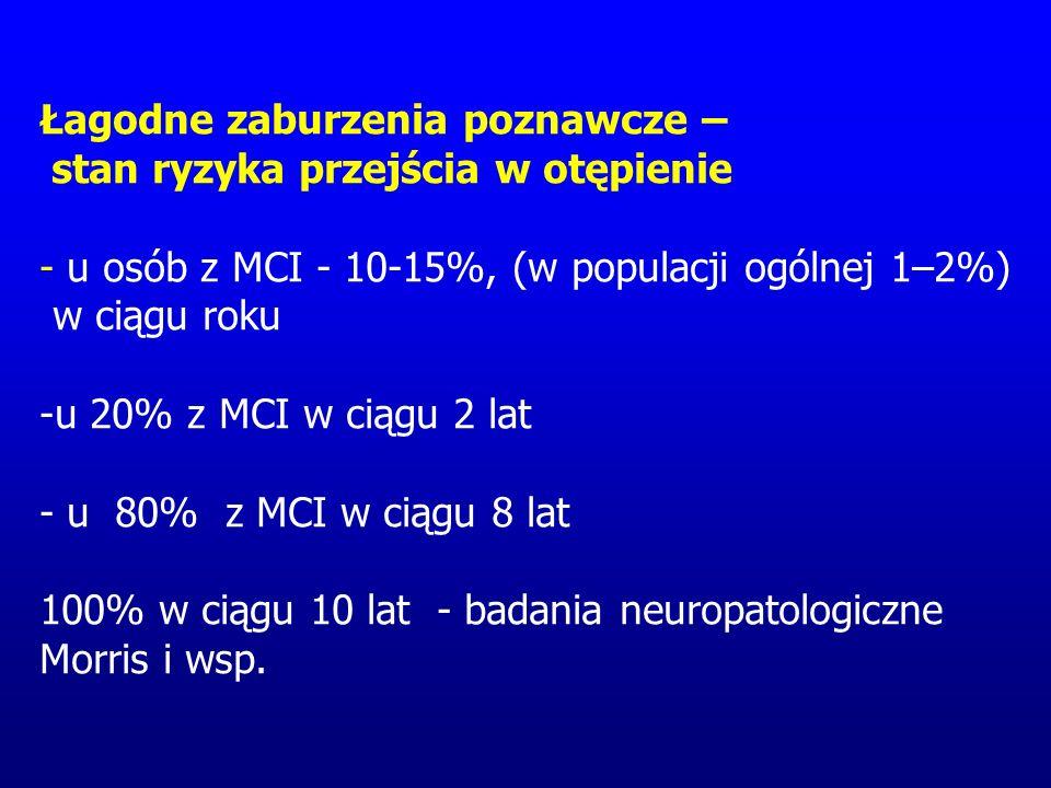 Łagodne zaburzenia poznawcze – stan ryzyka przejścia w otępienie - u osób z MCI - 10-15%, (w populacji ogólnej 1–2%) w ciągu roku -u 20% z MCI w ciągu