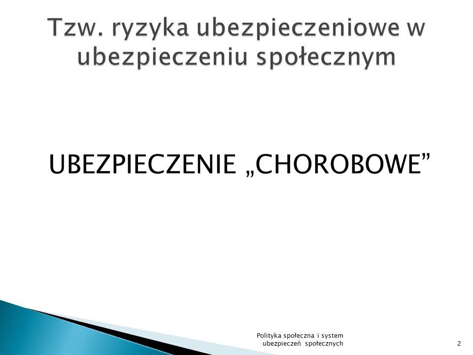 """UBEZPIECZENIE """"CHOROBOWE"""" Polityka społeczna i system ubezpieczeń społecznych2"""